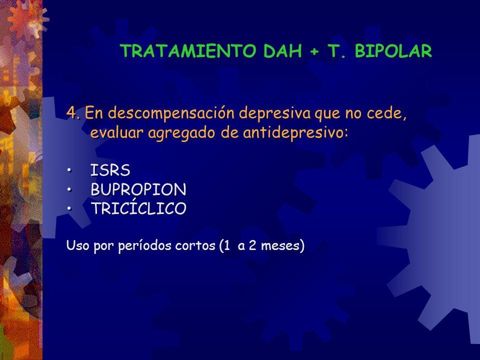 TRATAMIENTO DAH + T. BIPOLAR 4. En descompensación depresiva que no cede, evaluar agregado de antidepresivo: ISRS BUPROPION TRICÍCLICO Uso por período