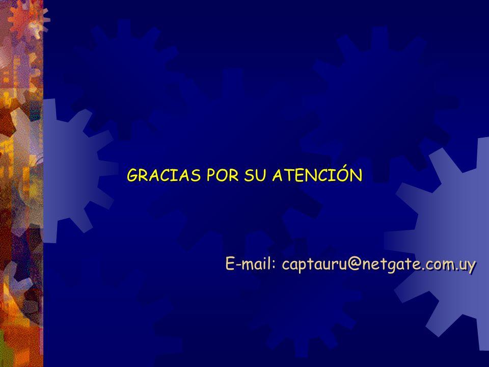 GRACIAS POR SU ATENCIÓN E-mail: captauru@netgate.com.uy GRACIAS POR SU ATENCIÓN E-mail: captauru@netgate.com.uy