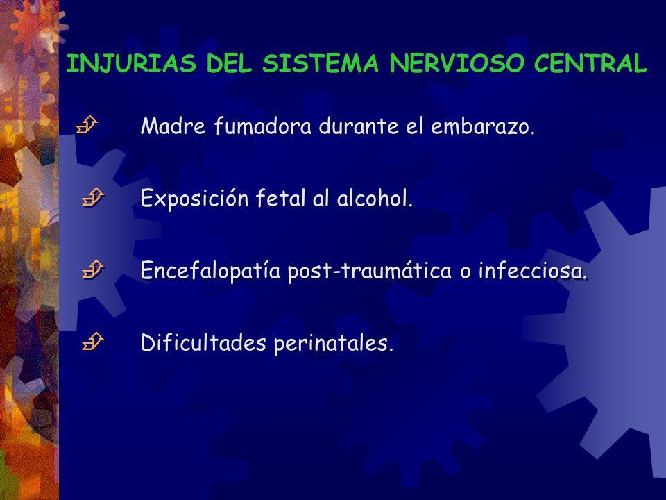 INJURIAS DEL SISTEMA NERVIOSO CENTRAL Madre fumadora durante el embarazo. Exposición fetal al alcohol. Encefalopatía post-traumática o infecciosa. Dif