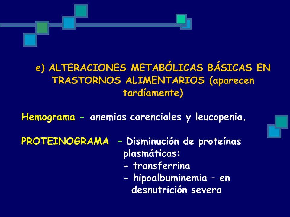 e) ALTERACIONES METABÓLICAS BÁSICAS EN TRASTORNOS ALIMENTARIOS (aparecen tardíamente) Hemograma -anemias carenciales y leucopenia. PROTEINOGRAMA – Dis