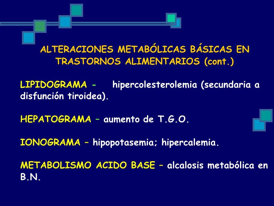 ALTERACIONES METABÓLICAS BÁSICAS EN TRASTORNOS ALIMENTARIOS (cont.) LIPIDOGRAMA -hipercolesterolemia (secundaria a disfunción tiroidea). HEPATOGRAMA –