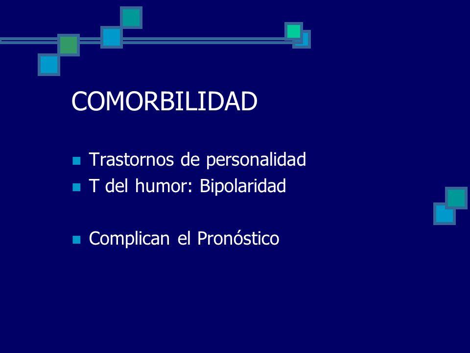 COMORBILIDAD Trastornos de personalidad T del humor: Bipolaridad Complican el Pronóstico