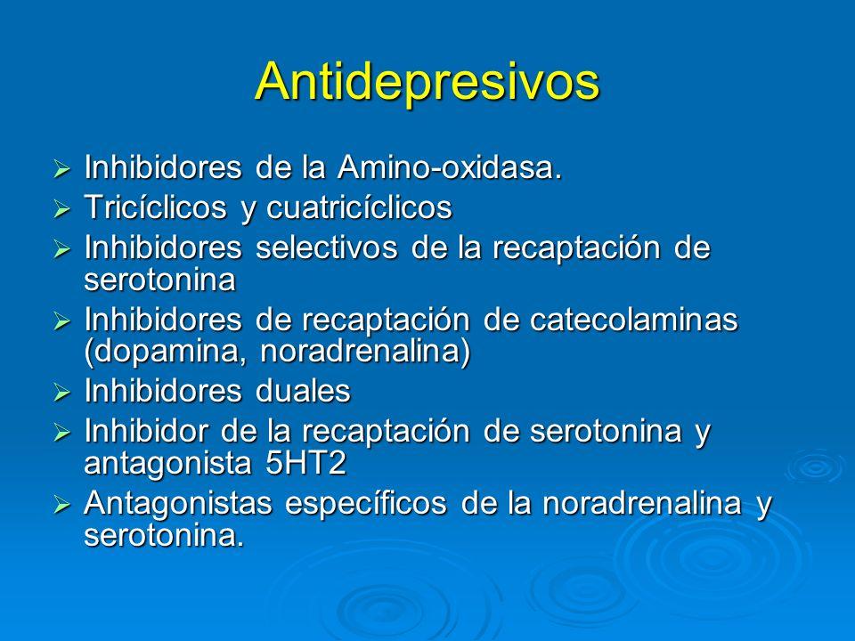 Antidepresivos Inhibidores de la Amino-oxidasa. Inhibidores de la Amino-oxidasa. Tricíclicos y cuatricíclicos Tricíclicos y cuatricíclicos Inhibidores