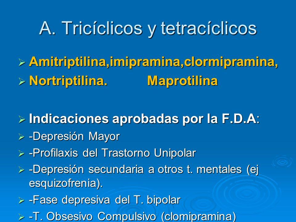 A. Tricíclicos y tetracíclicos Amitriptilina,imipramina,clormipramina, Amitriptilina,imipramina,clormipramina, Nortriptilina. Maprotilina Nortriptilin