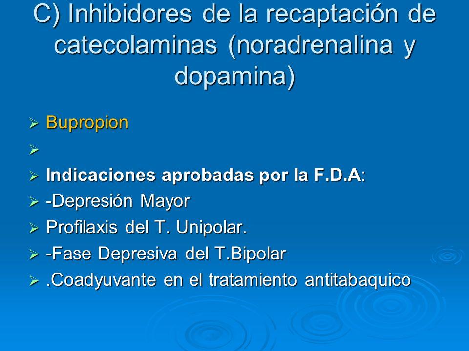 C) Inhibidores de la recaptación de catecolaminas (noradrenalina y dopamina) Bupropion Bupropion Indicaciones aprobadas por la F.D.A: Indicaciones apr