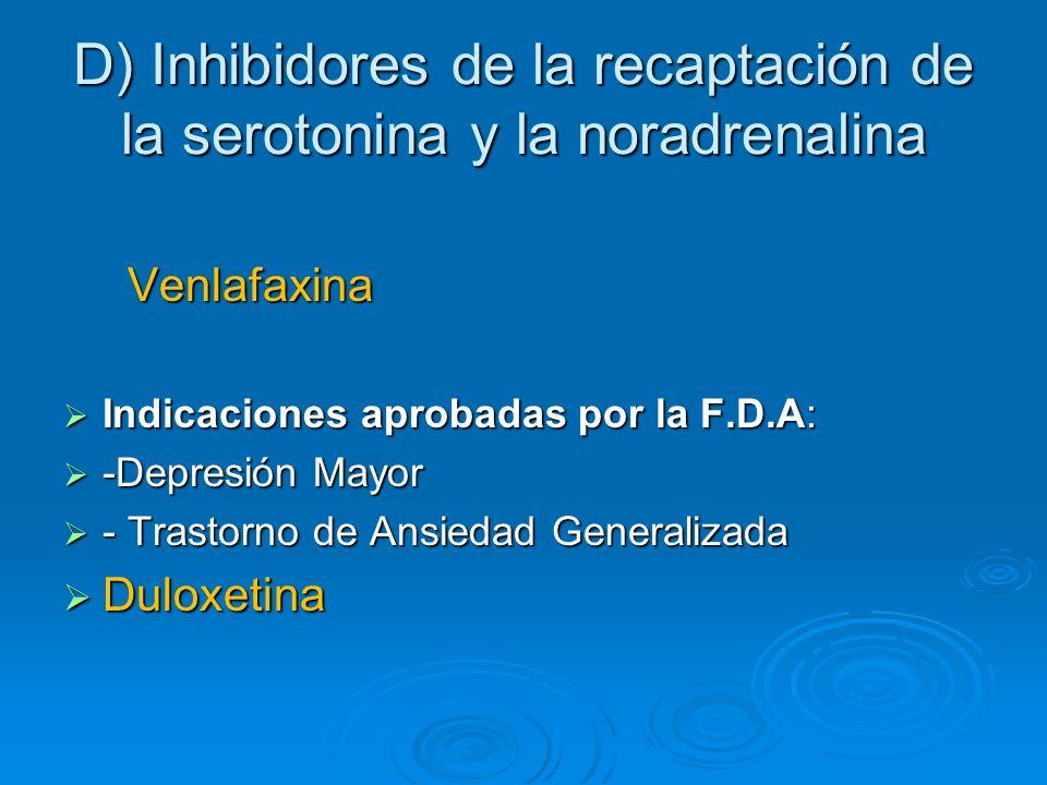 D) Inhibidores de la recaptación de la serotonina y la noradrenalina Venlafaxina Venlafaxina Indicaciones aprobadas por la F.D.A: Indicaciones aprobad