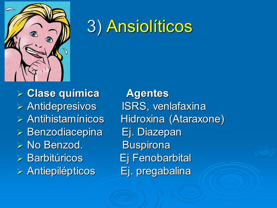 3) Ansiolíticos Clase química Agentes Clase química Agentes Antidepresivos ISRS, venlafaxina Antidepresivos ISRS, venlafaxina Antihistamínicos Hidroxi