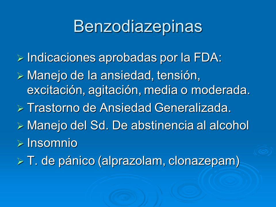 Benzodiazepinas Indicaciones aprobadas por la FDA: Indicaciones aprobadas por la FDA: Manejo de la ansiedad, tensión, excitación, agitación, media o m