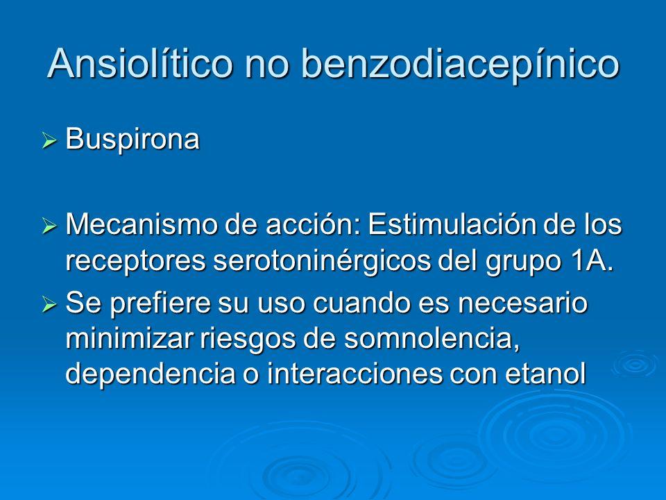 Ansiolítico no benzodiacepínico Buspirona Buspirona Mecanismo de acción: Estimulación de los receptores serotoninérgicos del grupo 1A. Mecanismo de ac