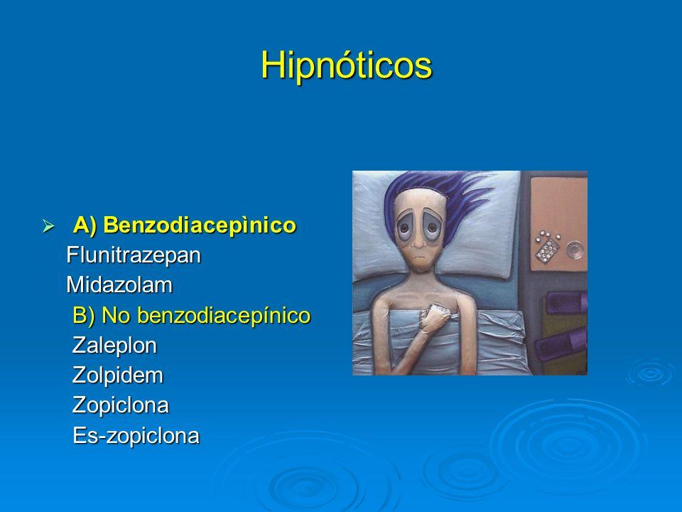 Hipnóticos Hipnóticos A) Benzodiacepìnico A) Benzodiacepìnico Flunitrazepan Flunitrazepan Midazolam Midazolam B) No benzodiacepínico B) No benzodiacep