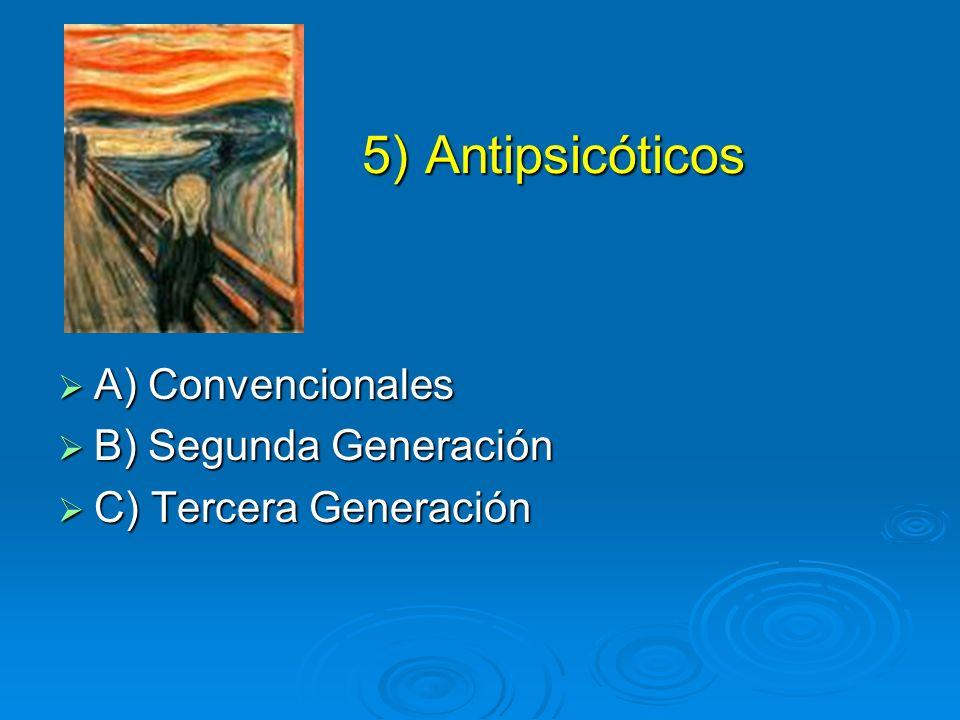 5) Antipsicóticos 5) Antipsicóticos A) Convencionales A) Convencionales B) Segunda Generación B) Segunda Generación C) Tercera Generación C) Tercera G