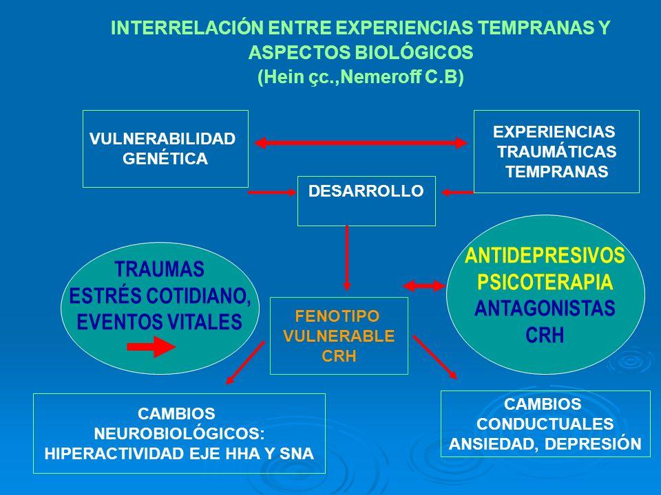 INTERRELACIÓN ENTRE EXPERIENCIAS TEMPRANAS Y ASPECTOS BIOLÓGICOS (Hein çc.,Nemeroff C.B) VULNERABILIDAD GENÉTICA DESARROLLO FENOTIPO VULNERABLE CRH TR