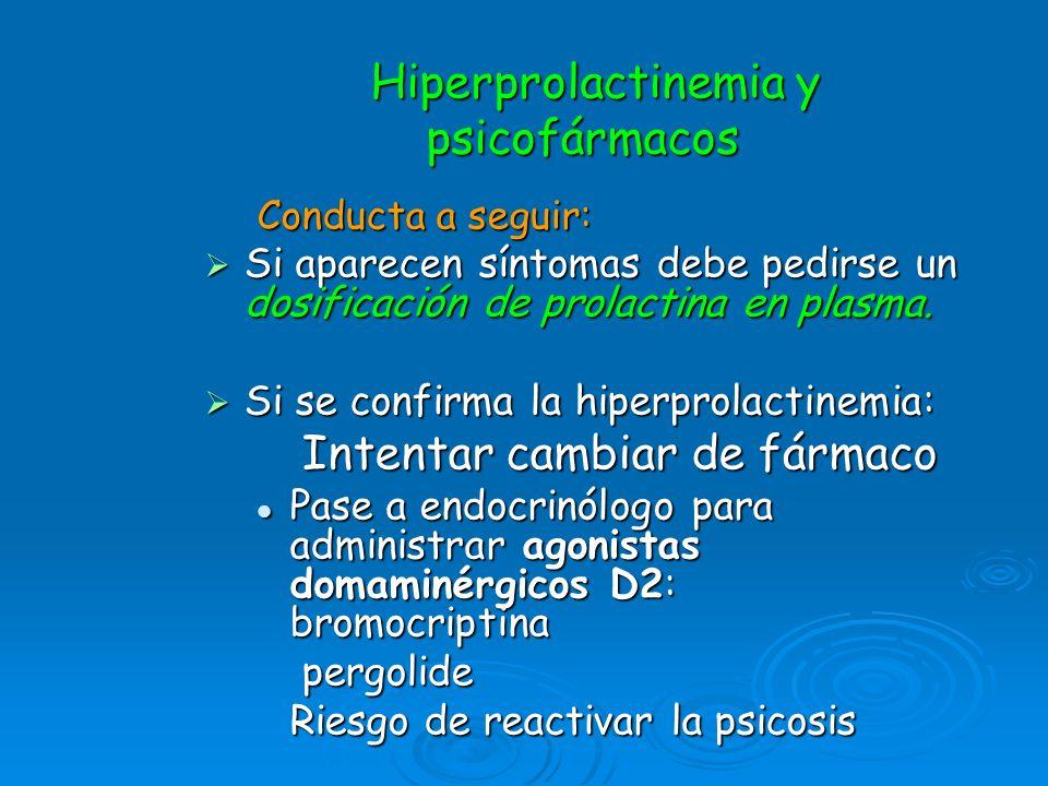 Hiperprolactinemia y psicofármacos Hiperprolactinemia y psicofármacos Conducta a seguir: Si aparecen síntomas debe pedirse un dosificación de prolacti