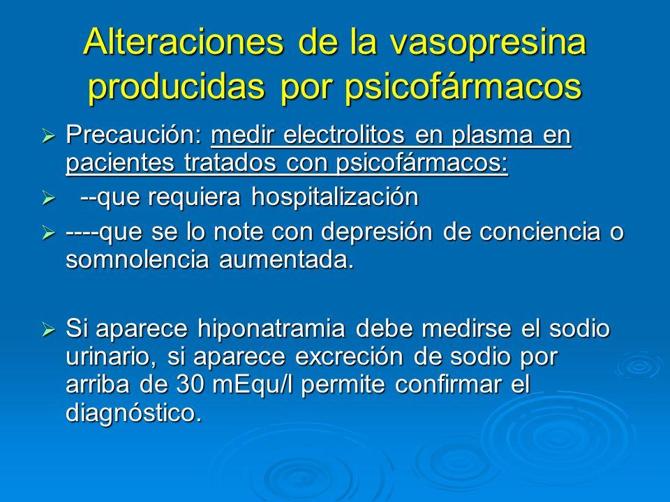 Alteraciones de la vasopresina producidas por psicofármacos Precaución: medir electrolitos en plasma en pacientes tratados con psicofármacos: Precauci