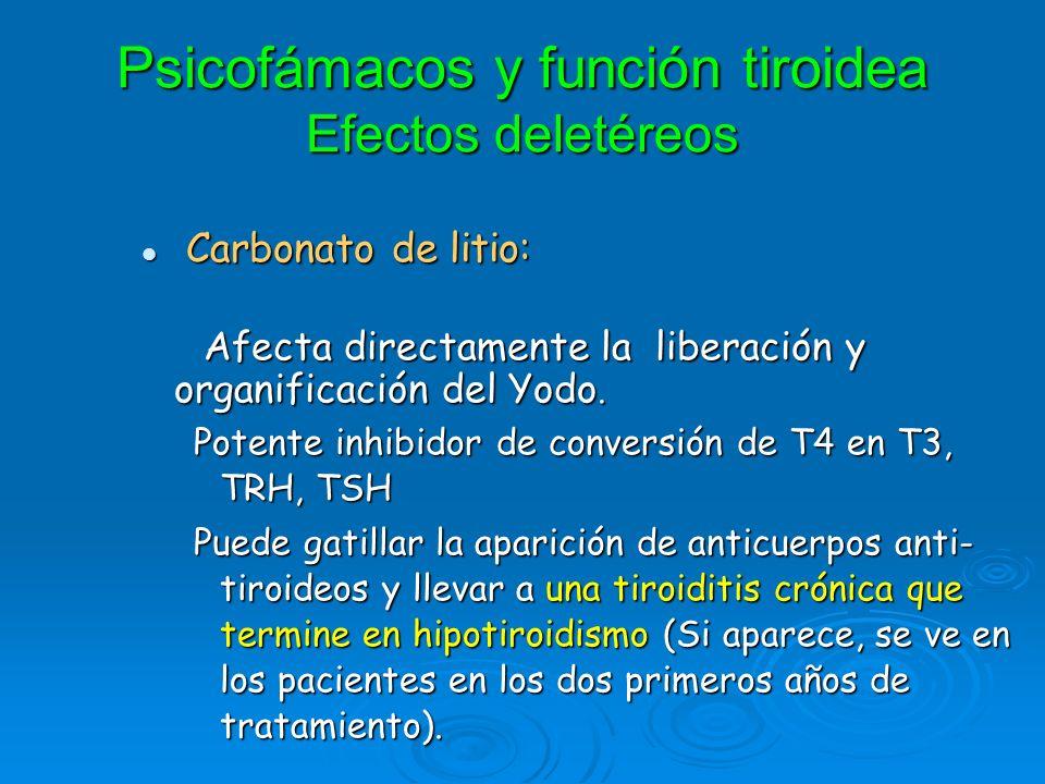 Psicofámacos y función tiroidea Efectos deletéreos Carbonato de litio: Carbonato de litio: Afecta directamente la liberación y organificación del Yodo