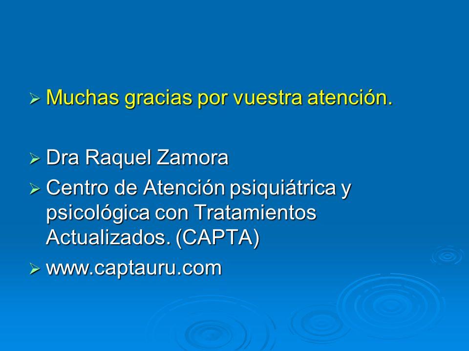 Muchas gracias por vuestra atención. Muchas gracias por vuestra atención. Dra Raquel Zamora Dra Raquel Zamora Centro de Atención psiquiátrica y psicol