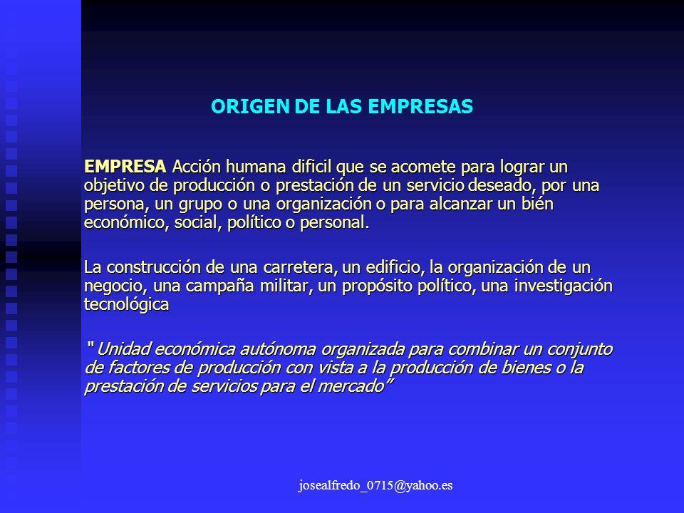 josealfredo_0715@yahoo.es ORIGEN DE LAS EMPRESAS EMPRESA Acción humana dificil que se acomete para lograr un objetivo de producción o prestación de un