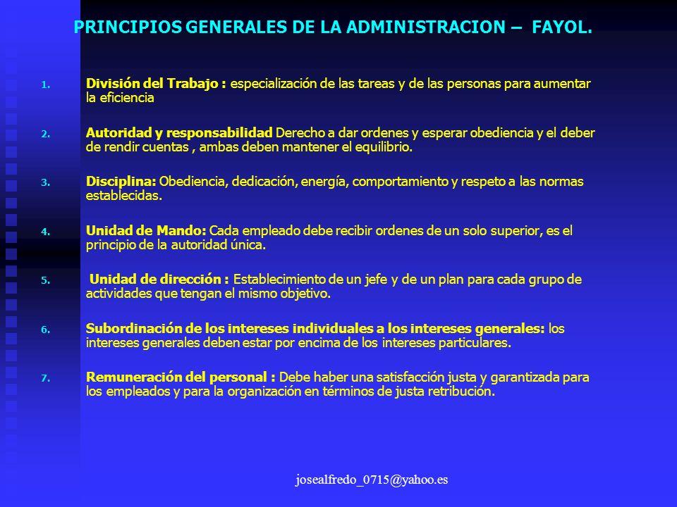 josealfredo_0715@yahoo.es 1. 1. División del Trabajo : especialización de las tareas y de las personas para aumentar la eficiencia 2. 2. Autoridad y r