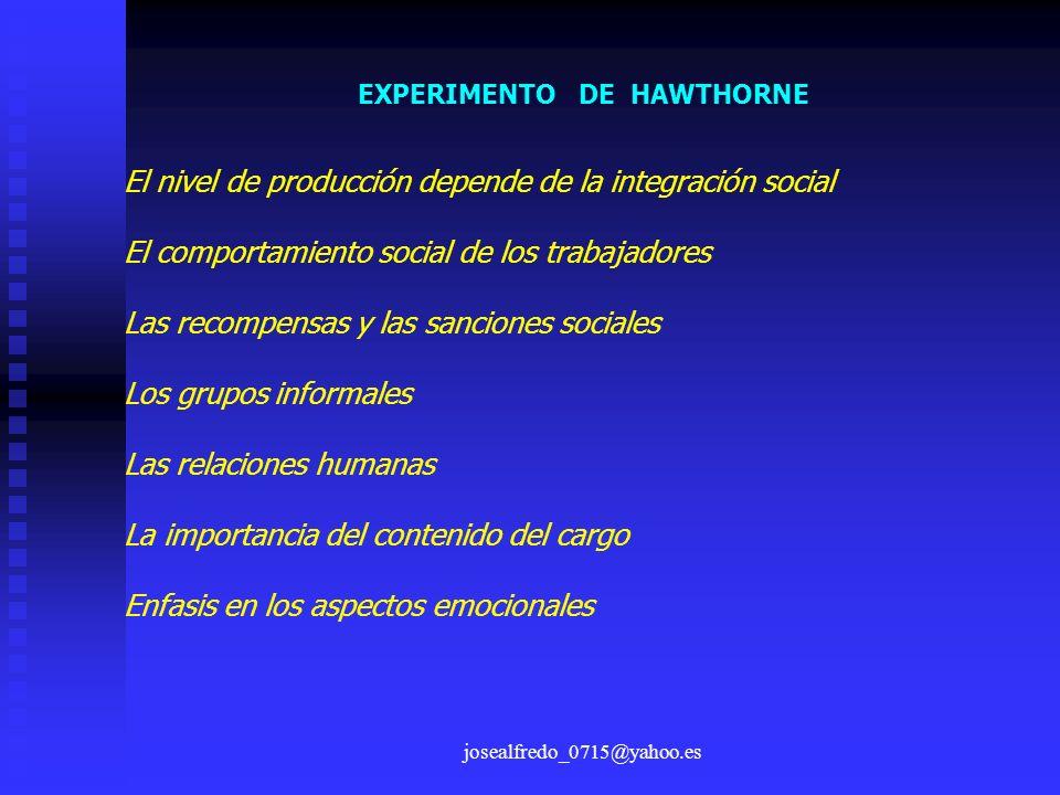 josealfredo_0715@yahoo.es EXPERIMENTO DE HAWTHORNE El nivel de producción depende de la integración social El comportamiento social de los trabajadore