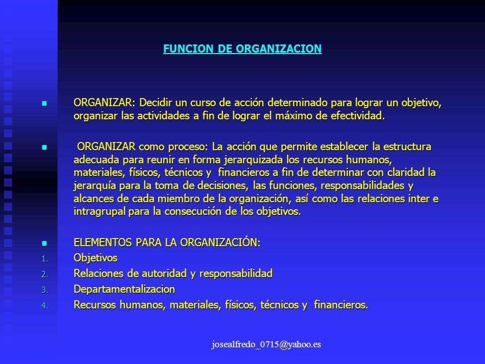 josealfredo_0715@yahoo.es FUNCION DE ORGANIZACION ORGANIZAR: Decidir un curso de acción determinado para lograr un objetivo, organizar las actividades