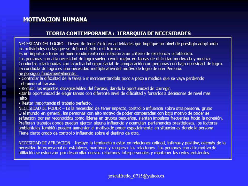 josealfredo_0715@yahoo.es MOTIVACION HUMANA TEORIA CONTEMPORANEA : JERARQUIA DE NECESIDADES NECESIDAD DEL LOGRO – Deseo de tener éxito en actividades