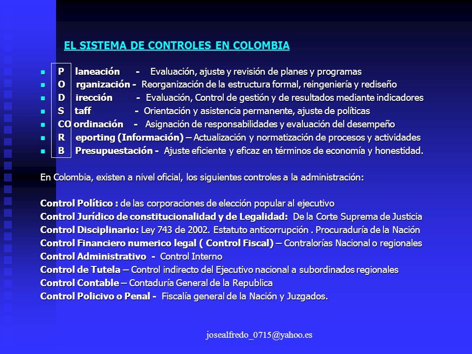 josealfredo_0715@yahoo.es EL SISTEMA DE CONTROLES EN COLOMBIA P laneación - Evaluación, ajuste y revisión de planes y programas P laneación - Evaluaci