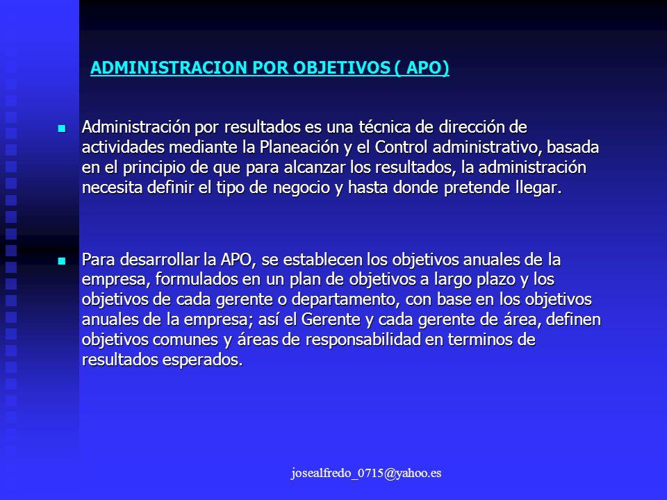 josealfredo_0715@yahoo.es Administración por resultados es una técnica de dirección de actividades mediante la Planeación y el Control administrativo,