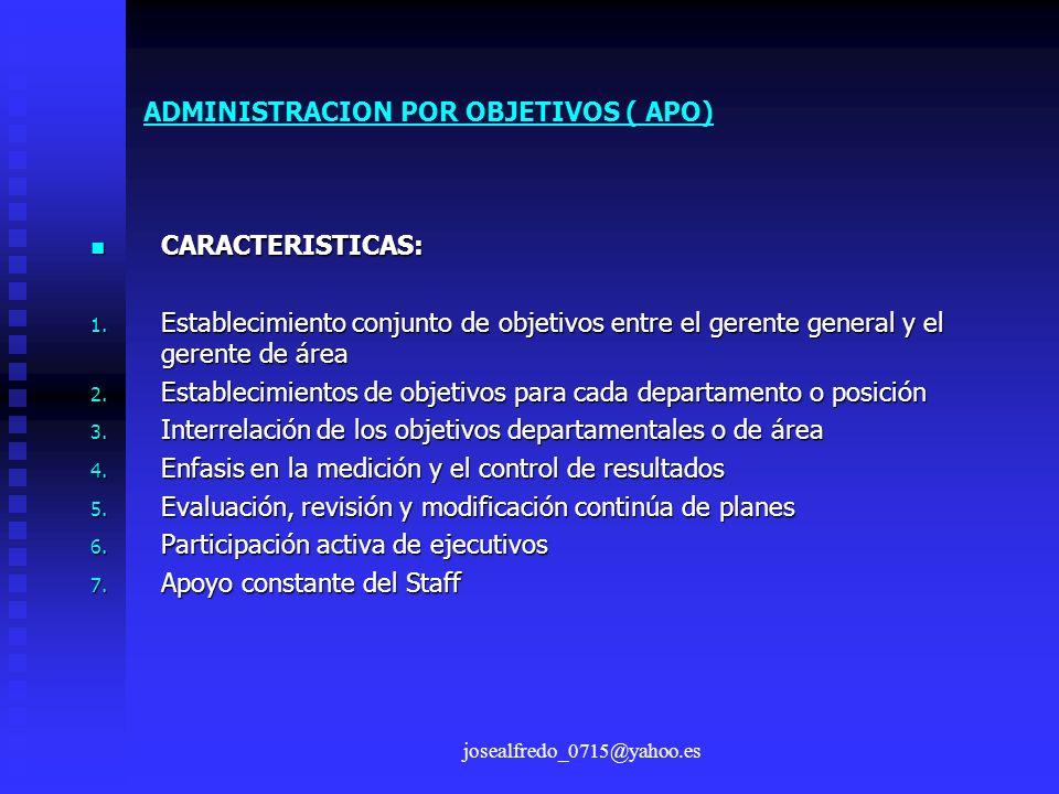 josealfredo_0715@yahoo.es CARACTERISTICAS: CARACTERISTICAS: 1. Establecimiento conjunto de objetivos entre el gerente general y el gerente de área 2.
