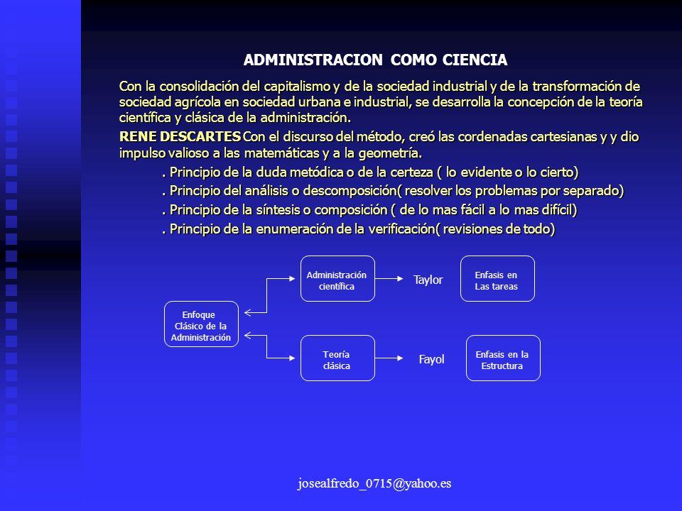 josealfredo_0715@yahoo.es ADMINISTRACION COMO CIENCIA Con la consolidación del capitalismo y de la sociedad industrial y de la transformación de socie