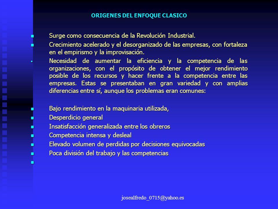josealfredo_0715@yahoo.es ORIGENES DEL ENFOQUE CLASICO Surge como consecuencia de la Revolución Industrial. Surge como consecuencia de la Revolución I