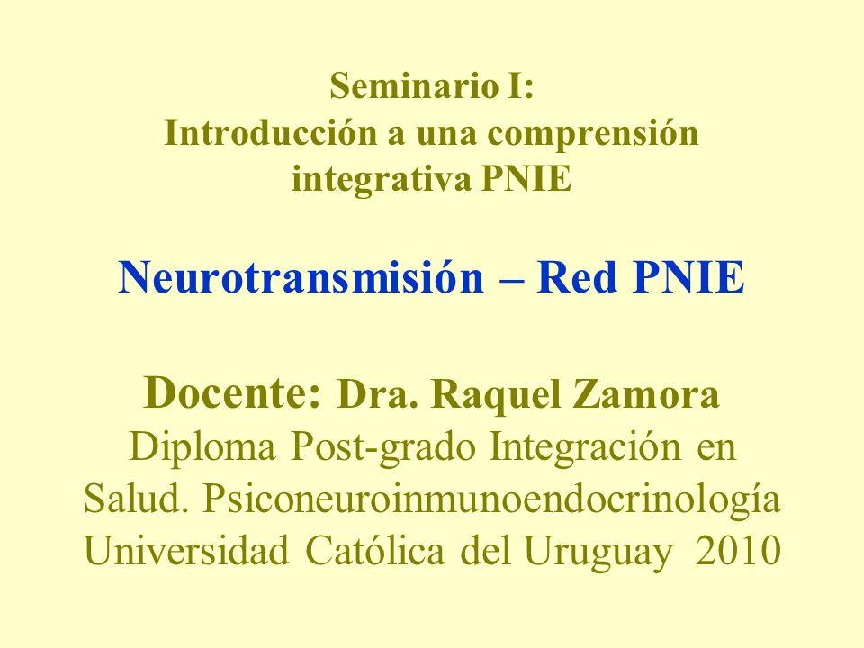 Seminario I: Introducción a una comprensión integrativa PNIE Neurotransmisión – Red PNIE Docente: Dra. Raquel Zamora Diploma Post-grado Integración en
