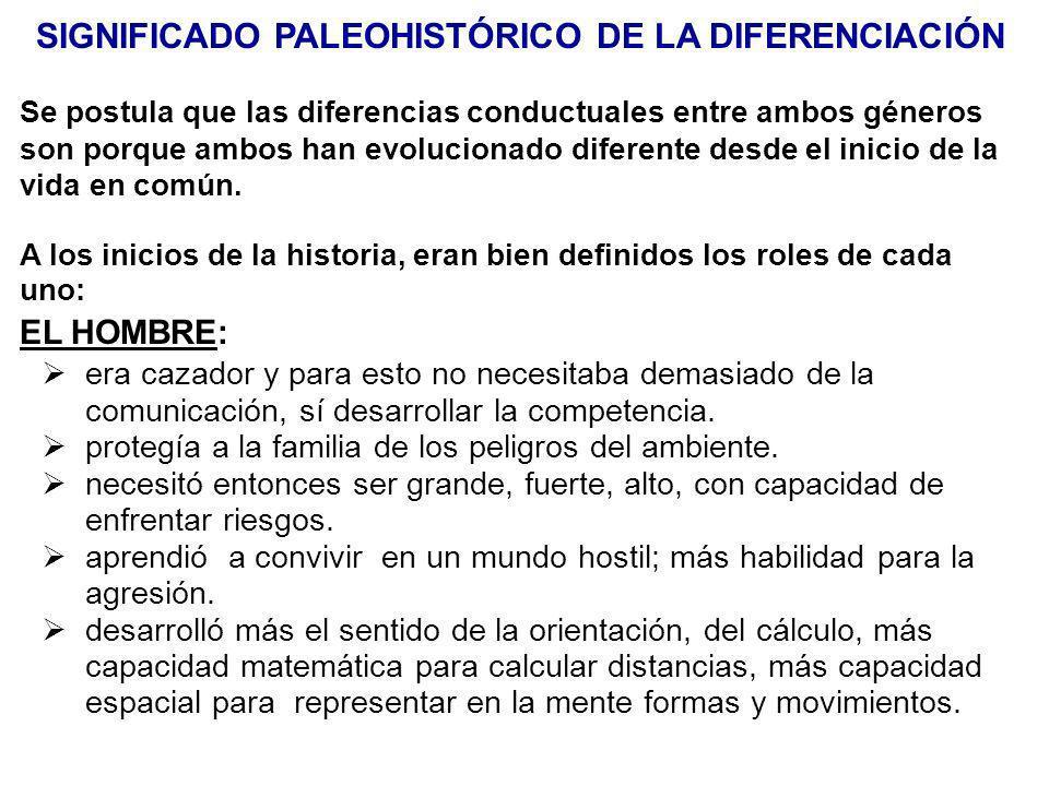 SIGNIFICADO PALEOHISTÓRICO DE LA DIFERENCIACIÓN Se postula que las diferencias conductuales entre ambos géneros son porque ambos han evolucionado dife