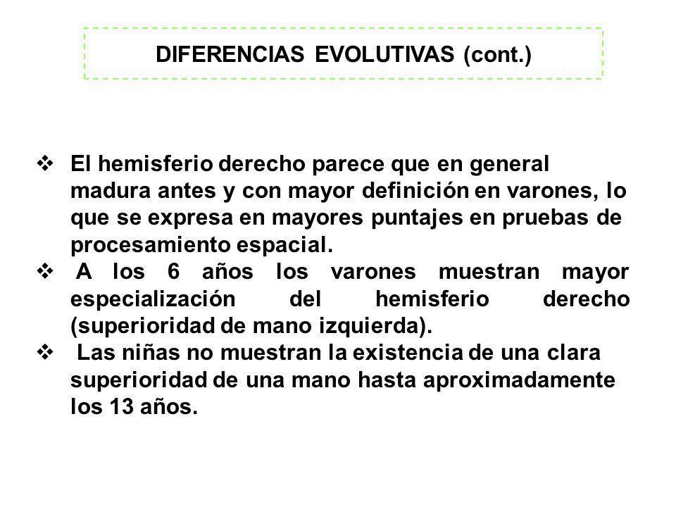 DIFERENCIAS EVOLUTIVAS (cont.) El hemisferio derecho parece que en general madura antes y con mayor definición en varones, lo que se expresa en mayore