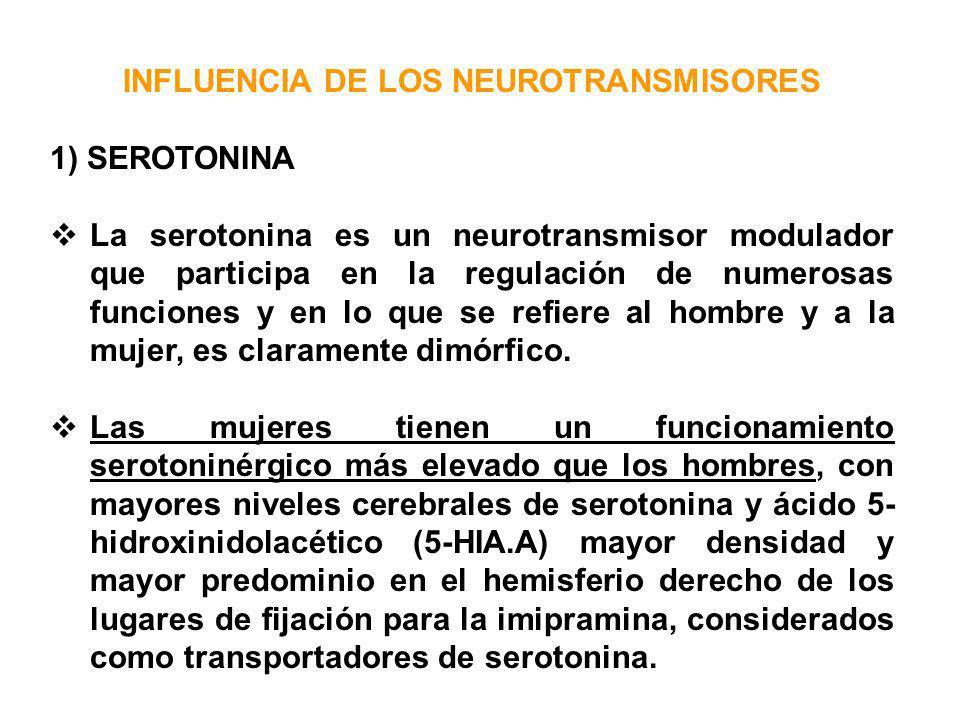 INFLUENCIA DE LOS NEUROTRANSMISORES 1) SEROTONINA La serotonina es un neurotransmisor modulador que participa en la regulación de numerosas funciones