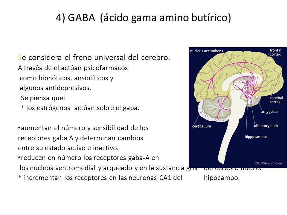 4) GABA (ácido gama amino butírico) Se considera el freno universal del cerebro. A través de él actúan psicofármacos como hipnóticos, ansiolíticos y a