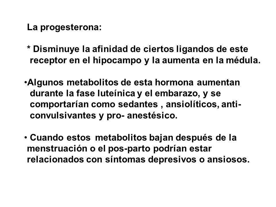 La progesterona: * Disminuye la afinidad de ciertos ligandos de este receptor en el hipocampo y la aumenta en la médula. Algunos metabolitos de esta h