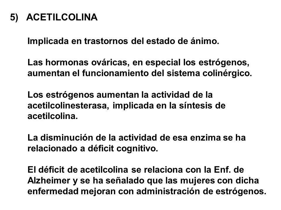 5) ACETILCOLINA Implicada en trastornos del estado de ánimo. Las hormonas ováricas, en especial los estrógenos, aumentan el funcionamiento del sistema