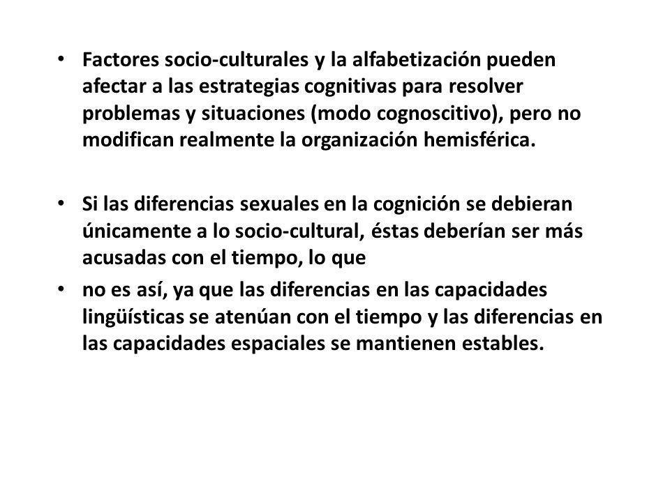 Factores socio-culturales y la alfabetización pueden afectar a las estrategias cognitivas para resolver problemas y situaciones (modo cognoscitivo), p