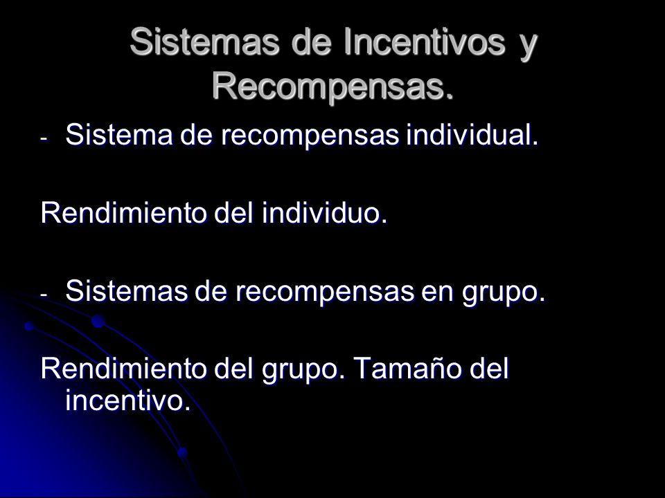 Otras Divisiones Clásicas - Sistema de incentivos explícitos.