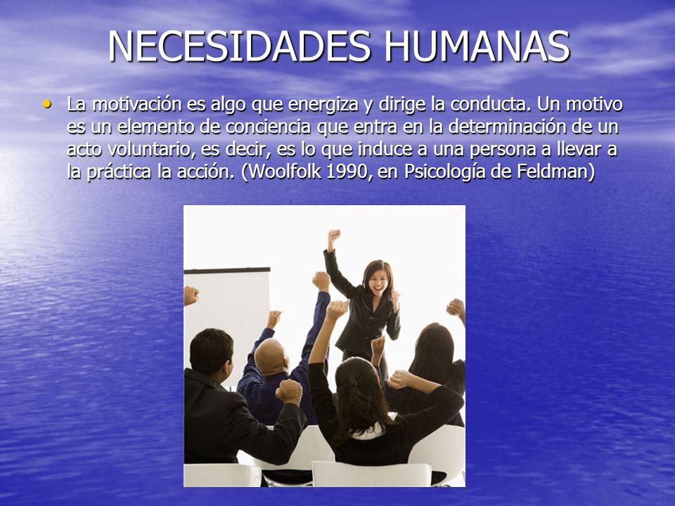 NECESIDADES HUMANAS La motivación es algo que energiza y dirige la conducta. Un motivo es un elemento de conciencia que entra en la determinación de u