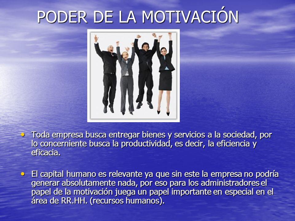 PODER DE LA MOTIVACIÓN Toda empresa busca entregar bienes y servicios a la sociedad, por lo concerniente busca la productividad, es decir, la eficienc