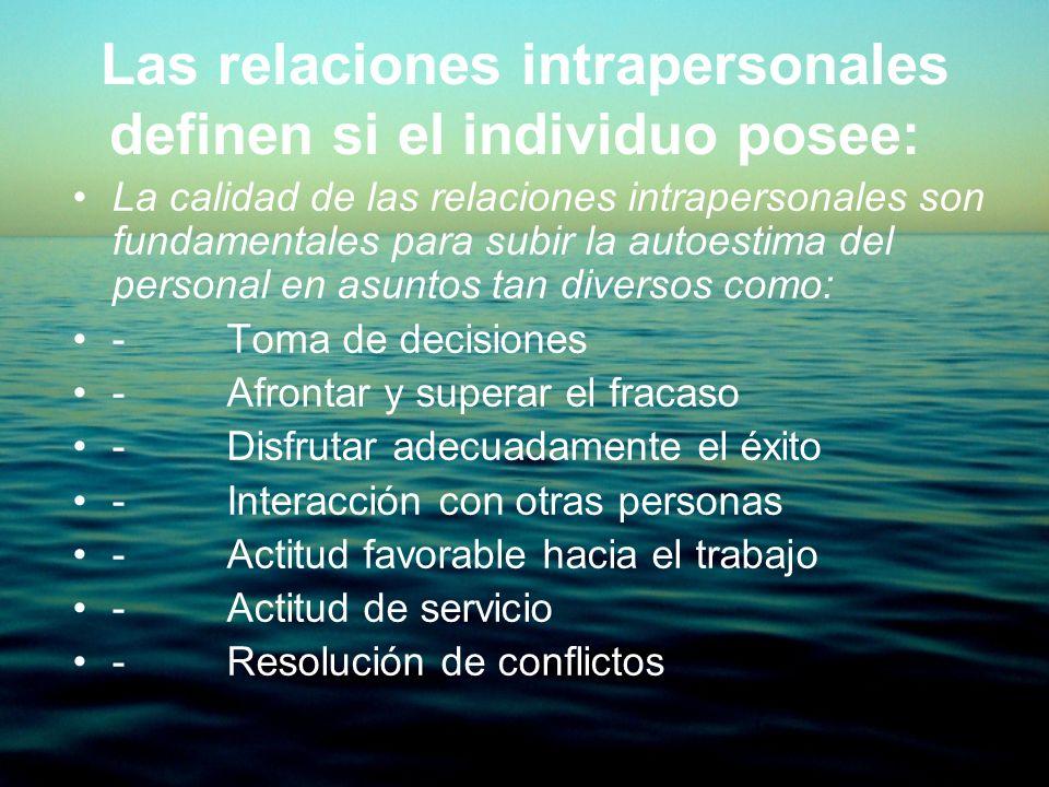 La calidad de las relaciones intrapersonales son fundamentales para subir la autoestima del personal en asuntos tan diversos como: - Toma de decisione