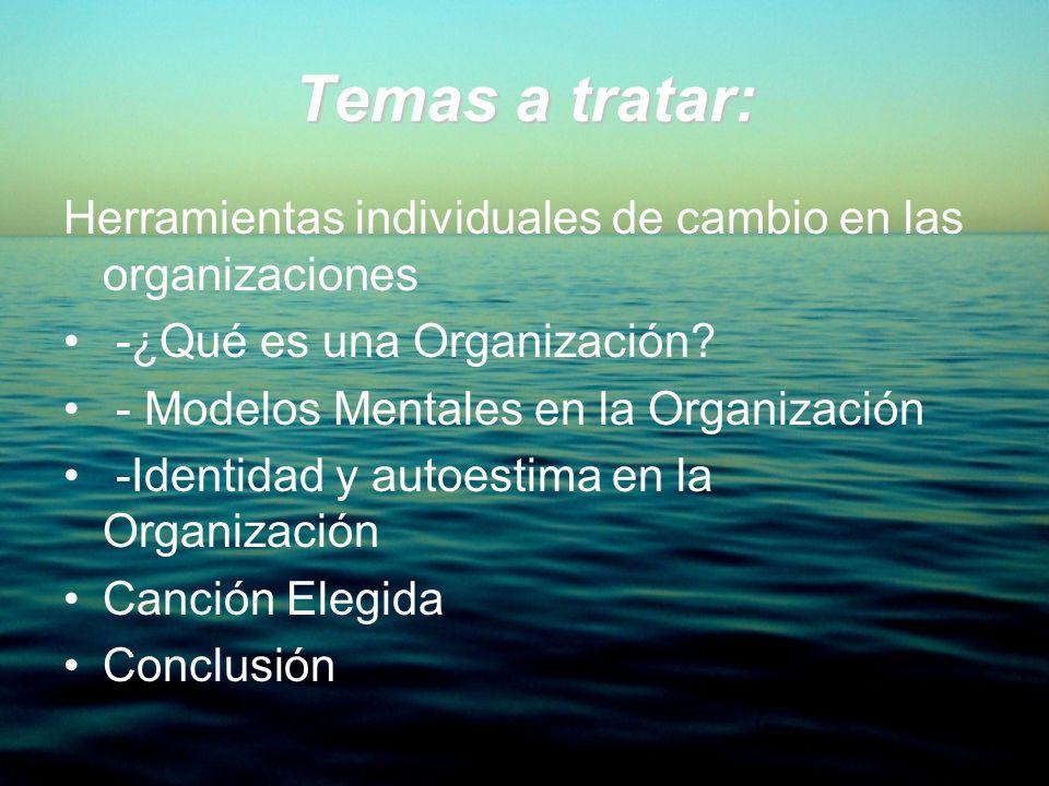 Temas a tratar: Herramientas individuales de cambio en las organizaciones -¿Qué es una Organización? - Modelos Mentales en la Organización -Identidad