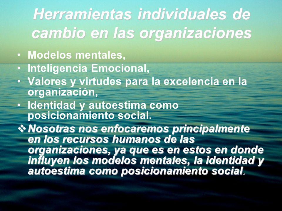 Herramientas individuales de cambio en las organizaciones Modelos mentales, Inteligencia Emocional, Valores y virtudes para la excelencia en la organi