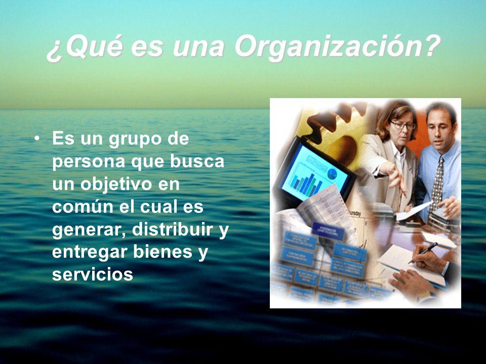 ¿Qué es una Organización? Es un grupo de persona que busca un objetivo en común el cual es generar, distribuir y entregar bienes y servicios