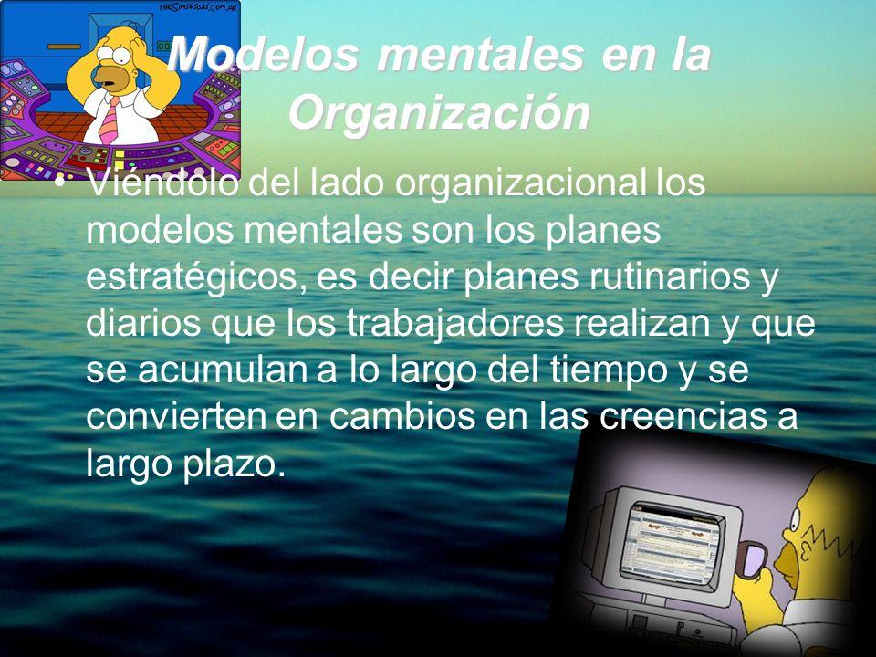 Modelos mentales en la Organización Viéndolo del lado organizacional los modelos mentales son los planes estratégicos, es decir planes rutinarios y di