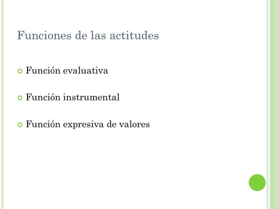 Funciones de las actitudes Función evaluativa Función instrumental Función expresiva de valores