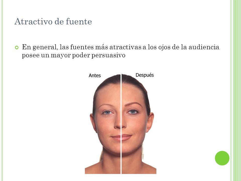 Atractivo de fuente En general, las fuentes más atractivas a los ojos de la audiencia posee un mayor poder persuasivo