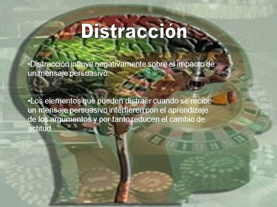 Distracción influye negativamente sobre el impacto de un mensaje persuasivo. Los elementos que pueden distraer cuando se recibe un mensaje persuasivo