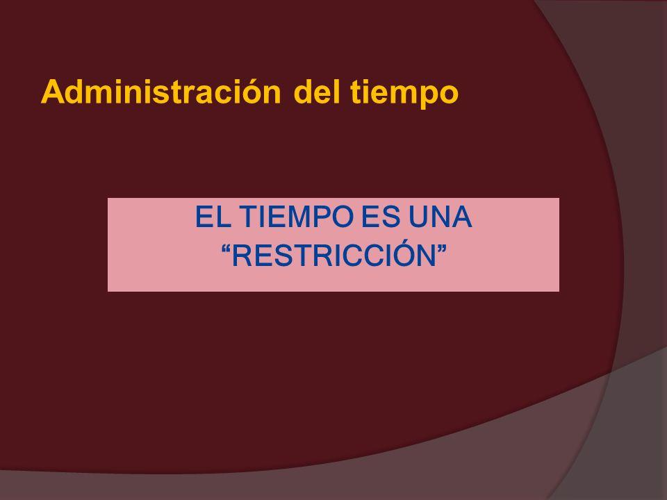 Administración del tiempo EL TIEMPO ES UNA RESTRICCIÓN